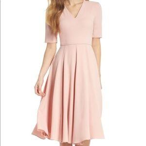 Gal Meets Glam 12 Pink Edith City Midi Flare Dress